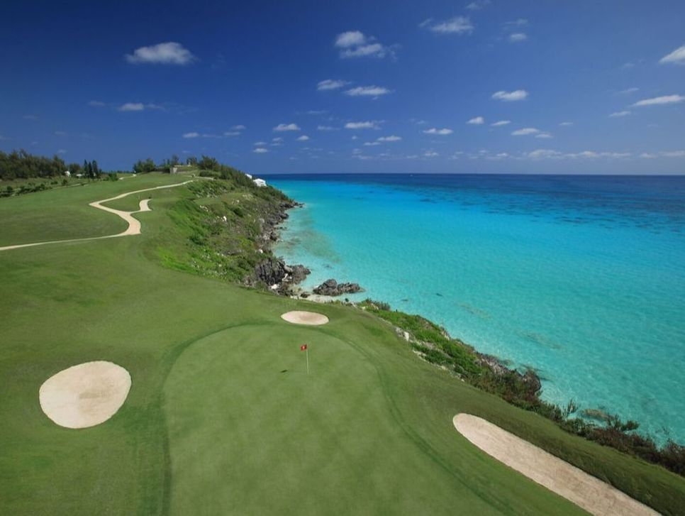 Wide shot of Bermuda, including Port Royal Golf Club and Pompano Beach Club